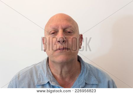 Older Man Head Back With Bad Attitude, Bald, Alopecia, Chemotherapy, Cancer, Isolated On White, Vert