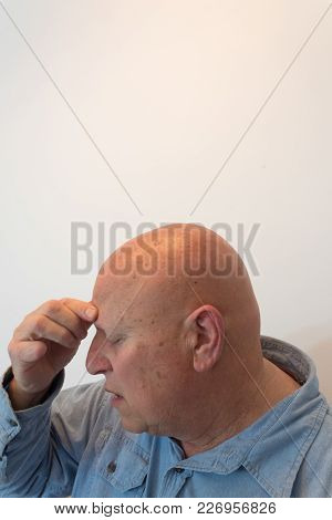 Older Man Head In Profile Hand To Forehead, Headache, Bald, Alopecia, Chemotherapy, Cancer, Isolated