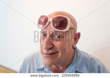 Older Man With Vintage Womens Sunglasses, Bald, Alopecia, Chemotherapy, Cancer, Isolated On White, V