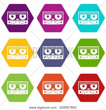 Audio Cassette Tape Icon Set Many Color Hexahedron Isolated On White Vector Illustration