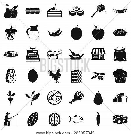 Green Pabulum Icons Set. Simple Set Of 36 Green Pabulum Vector Icons For Web Isolated On White Backg