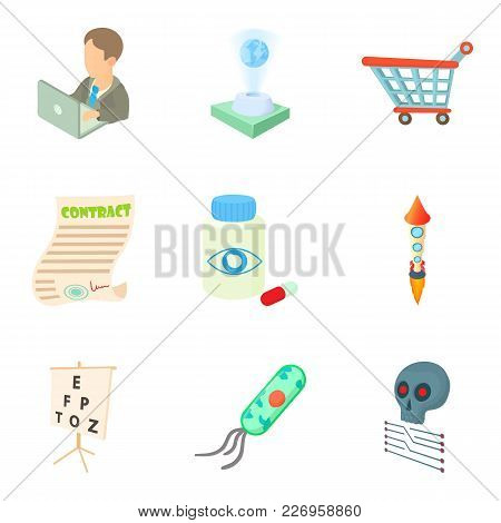 Research Development Icons Set. Cartoon Set Of 9 Research Development Vector Icons For Web Isolated
