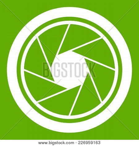 Photographic Objective Icon White Isolated On Green Background. Vector Illustration