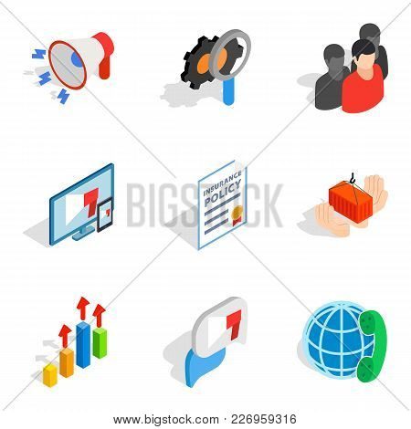 Analytical Approach Icons Set. Isometric Set Of 9 Analytical Approach Vector Icons For Web Isolated