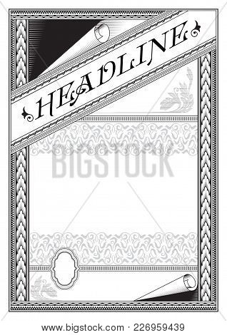 Ornate Rectangular Black Framework With Banner And Label. Template For Certificate, Diploma, Announc