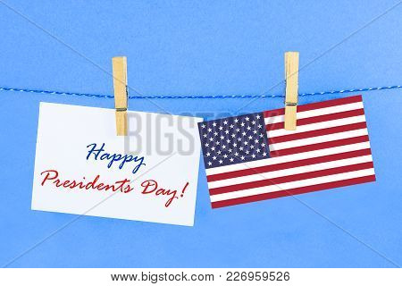 The Text Happy Presidents Day And A Flag Of The United States