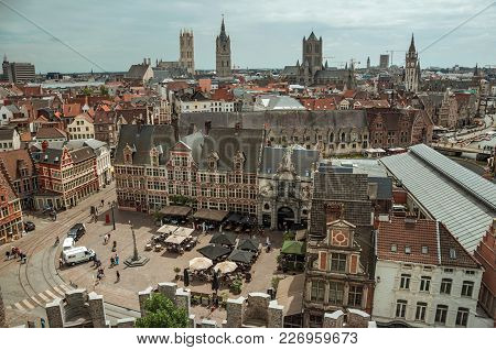 Ghent, Northern Belgium - July 03, 2017. Old Buildings Seen From The Top Of Tower In The Gravensteen
