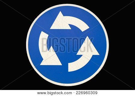 Old Round Road Sign 'roundable' Isolated On Black