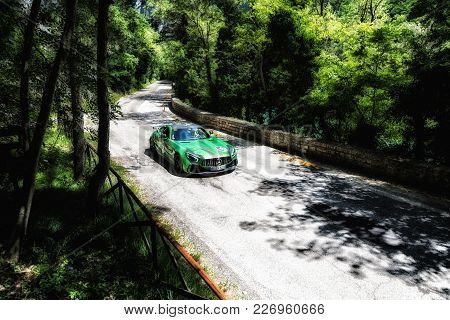Gola Del Furlo, Italy - Mercedes-amg Gt R2017 On An Old Racing Car In Rally Mille Miglia 2017 The F