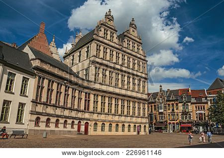 Ghent, Belgium - July 03, 2017. People And Old Buildings With Restaurants In Ghent. In Addition To I
