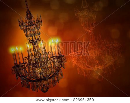 Luxury Gold Chandelier With Reflection Isolated On Dark Background. Crystal Chandelier. 3d Illustrat