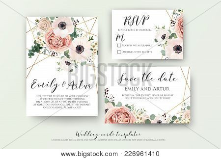 Wedding Invite, Invitation, Rsvp, Save The Date Card Design With Elegant Lavender Pink Garden Rose A