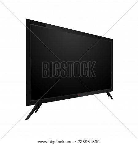 Realistic Black Lcd, Monitor Or Tv. Perspective View. Vector.
