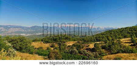 The panorama of turkey mountains with blue sky