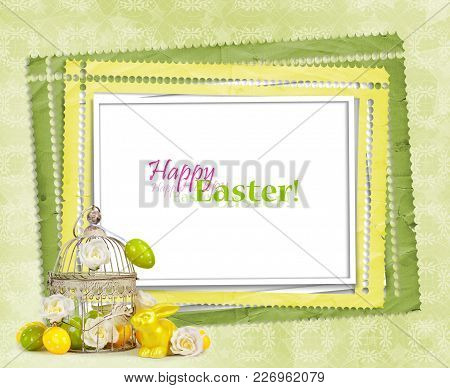 Easter Eggs And Funny Bunny  On Green Background
