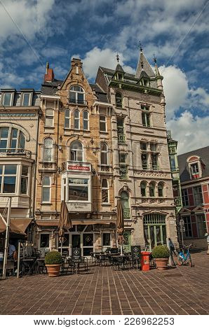 Ghent, Belgium - July 03, 2017. Old Typical Buildings With Restaurants In Ghent. In Addition To Inte