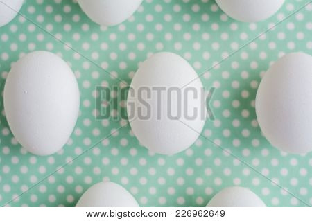 Eggs On Dotted Fabric Background, Easter Concept
