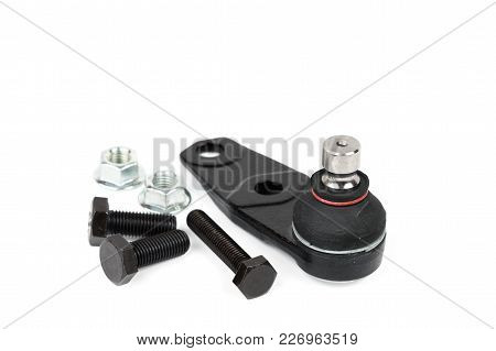 Spherical Joint With Screws And Nuts Isolated On White Background. Spare Parts Kit For Replacing The