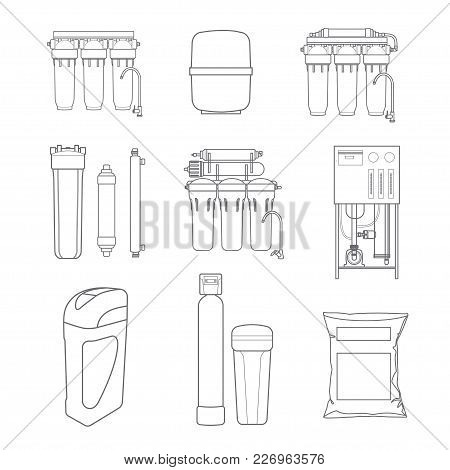 Water filter isolated vector icons. Linear style. Water purification equipment, cartridge, filters poster