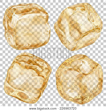 Set Of Realistic Translucent Ice Cubes In Amber Color On Transparent Background. Transparency Only I