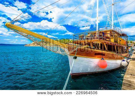 Scenic Coastal View At Mediterranean Seascape In Makarska Town, Travel Destination In Dalmatia Regio