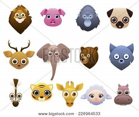 Set Of Animals Isolated On White Background. Lion, Wolf, Deer. Vector Illustration