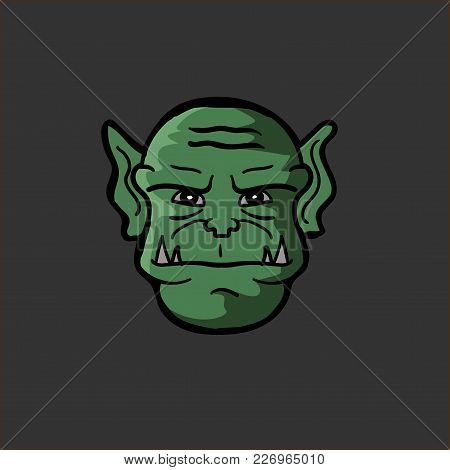 Vector Illustration Of An Orc Head Monster