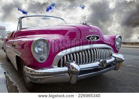 Havana, Cuba- January 27, 2013: Old Retro Car On The Street In Old  Havana, Cuba.