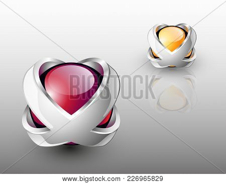 Abstract  Design Logo. Dual Colored Glass Spheres With Silver X Letters.