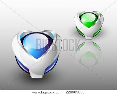 Abstract Design Logo. Dual Colored Glass Spheres With Silver Y Letters.
