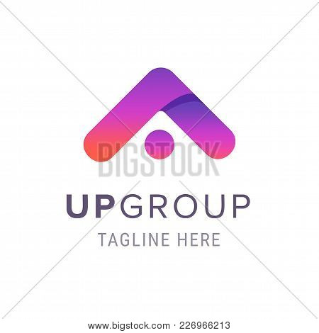 Creative Up Group Company Logo, Business Branding Symbol With Tagline Template. Modern Emblem For Co