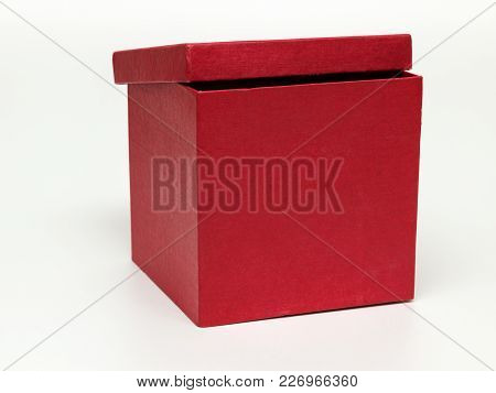 Red Paper Box With Lid Isolated On White