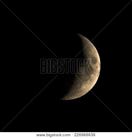 High Contrast Waxing Crescent Moon Seen With An Astronomical Telescope - Square 1:1 Format (taken Wi