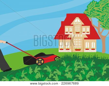 Lawn Mower With Grass In The Garden , Vector Illustration