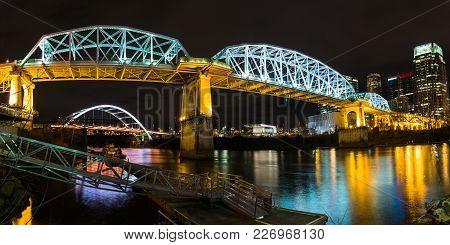 Nashville, Tn - 1/20/2018: The John Seigenthaler Pedestrian Bridge At Night As Seen From Cumberland