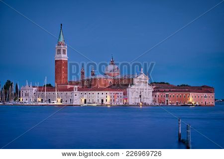 Photo Of The Chiesa Di San Giorgio Maggiore At The Blue Hour Time