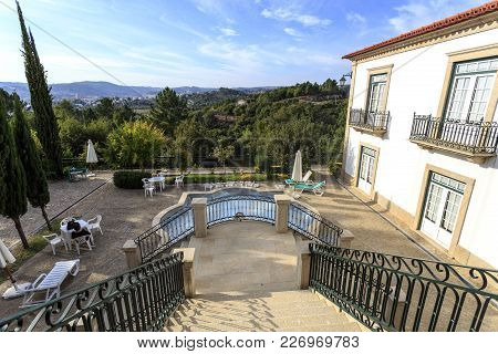 Amarante, Portugal - September 23, 2017: House With A Granite Staircase Leading To A Beautiful Terra