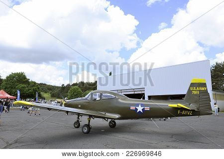 Mende, France - June 25, 2016: Old Fighter Of The Air Force United States Parked On The Mende Airfie