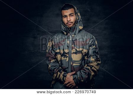 Black Male Dressed In A Military Jacket.