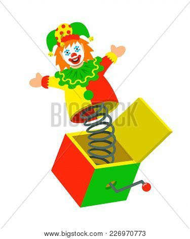 Jester Pops Out A Box. Surprise Joke For April Fools Day. Jack In A Box Toy. Vector Cartoon Illustra