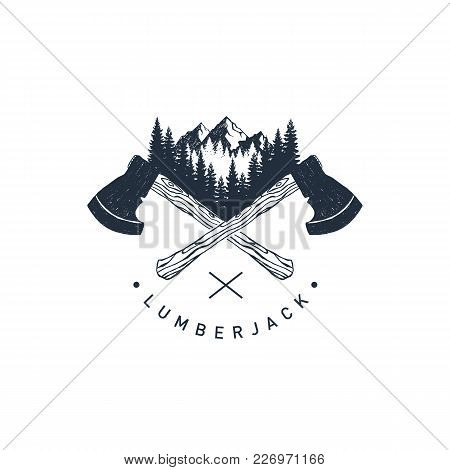 Hand Drawn Travel Badge With Crossed Axes, Mountains And Fir Trees Textured Vector Illustrations And