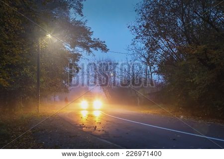 Road In The Evening, Autumn, Fog, Car On The Road, Autumn Landscape