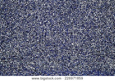Detail Shot Of Deep Blue And White Wall Mosaic Tiles As A Texture Or For A Background, High Resoluti
