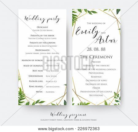Wedding Program Card For Ceremony And Party With Modern Vector, Floral, Botanical Design With Green