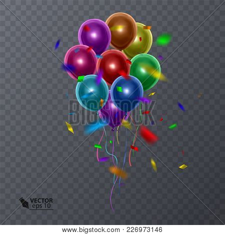 3d Realistic Colorful Balloons On Transparent Background. Holiday Illustration Of Flying Glossy Ball