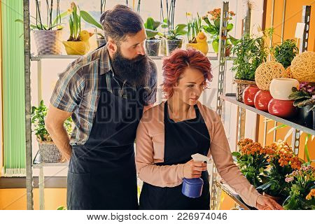 Bearded Flower Seller And A Redhead Female Watering Flower Bouquets.