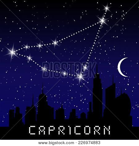 Capricorn Zodiac Constellations Sign On Beautiful Starry Sky With Galaxy And Space Behind. Goat Horo