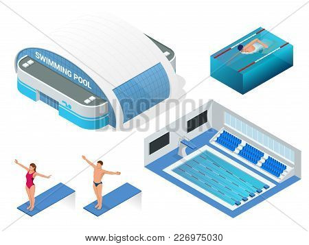 Isometric Vector Set Of Modern Building Swimming Pool For Water Sports, Swimming Pool, Swimmers Elem