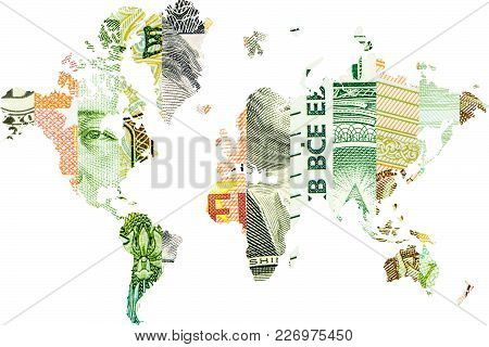 Double Exposure With World Map And Yuan, Ruble, Euro And Dollar Collage As Background