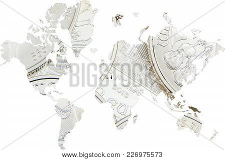 Double Exposure With World Map Silver Coins As Background